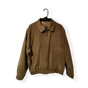 Men's Cutter & Buck Brown Faux Suede Bomber Style